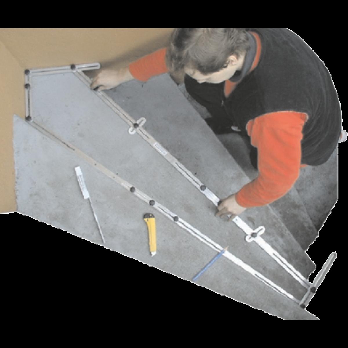 Treppen-Winkelschablone - mit Holzkoffer -