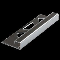 Edelstahl-Fliesenschiene FEQ-S/BC 110 à 2,50 m - Quadratisch - VERCHROMT