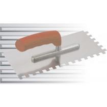 Glättekelle mit Softline-Griff - 4 mm Zahnung, eckig Stahl - 28 x 13 cm