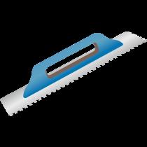 Aufziehglätter mit Holzgriff - 15 mm Zahnung, rund Stahl - 48 x 13 cm
