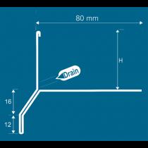 Aluminium-Randschutz mit Drainage RRTTA-D 75 HG à 2,50 m - hellgrau